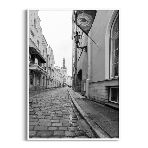 Street in Old Town of Tallinn poster in white frame without border