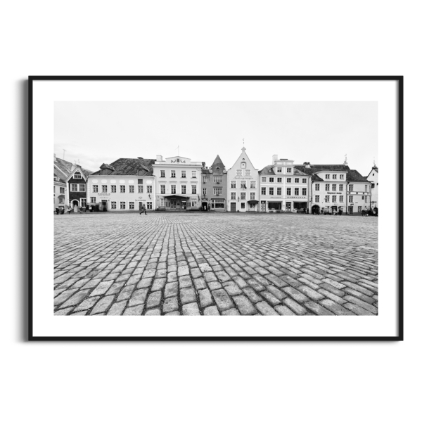 Tallinn Raekoja Platz Print in black frame with border