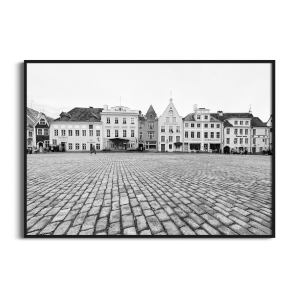 Tallinn Raekoja Platz Print in black frame without border