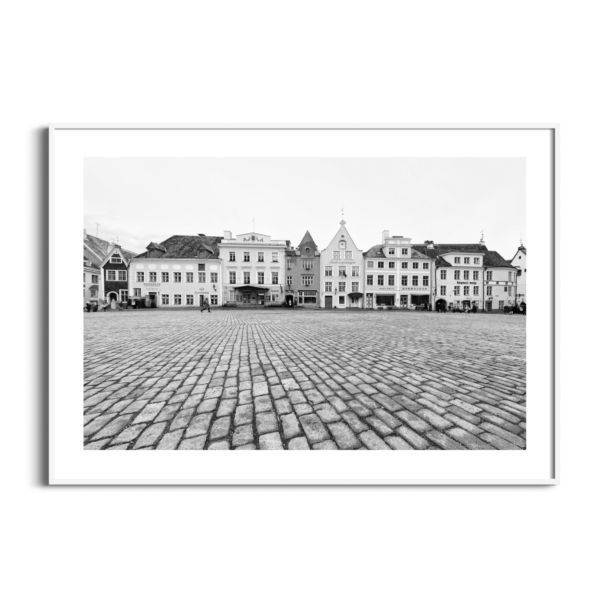 Tallinn Raekoja Platz Print in white frame with border