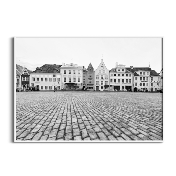 Tallinn Raekoja Platz Print in white frame without border