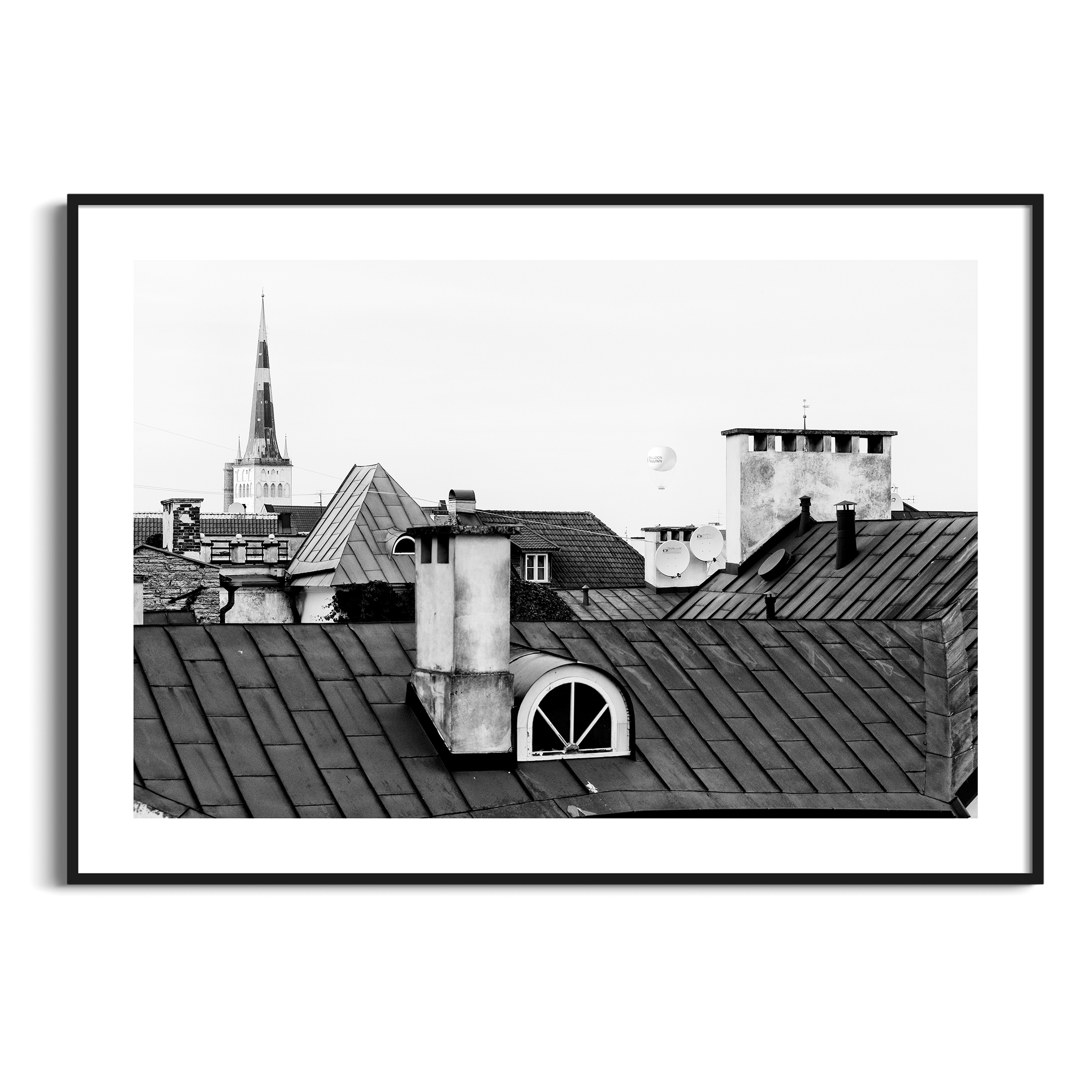 Tallinn Roofs - black and white photography print in black frame with border