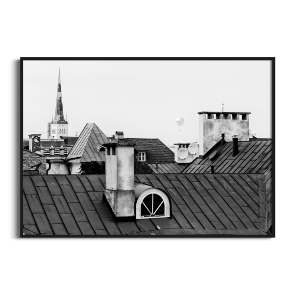 Tallinn Roofs in black frame without border