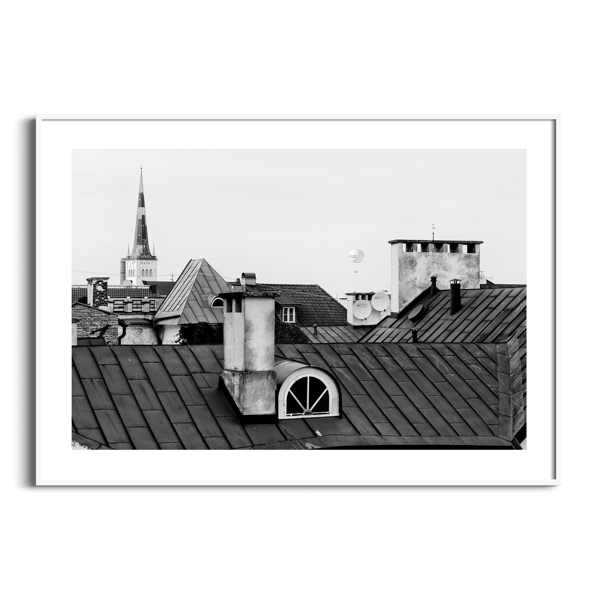 Tallinn Roofs in white frame with border