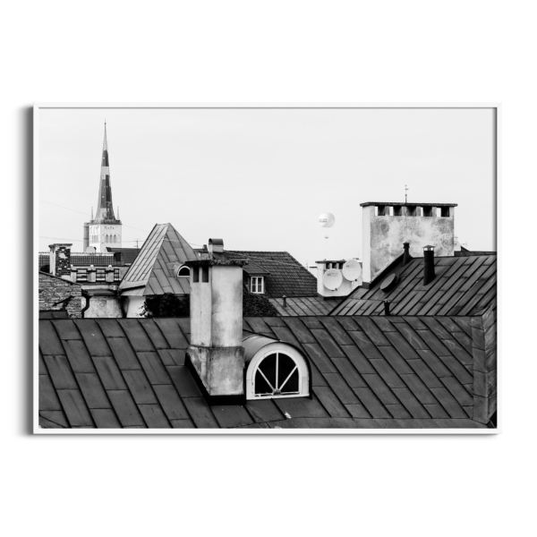 Tallinn Roofs in white frame without border