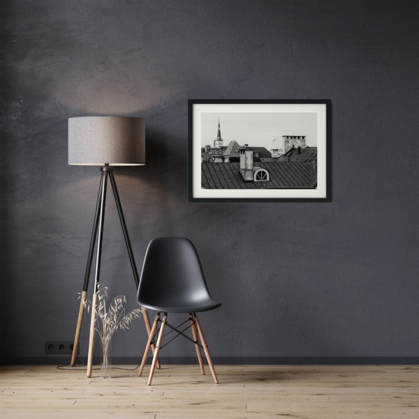 Tallinn Roofs poster black frame on the wall in the living room