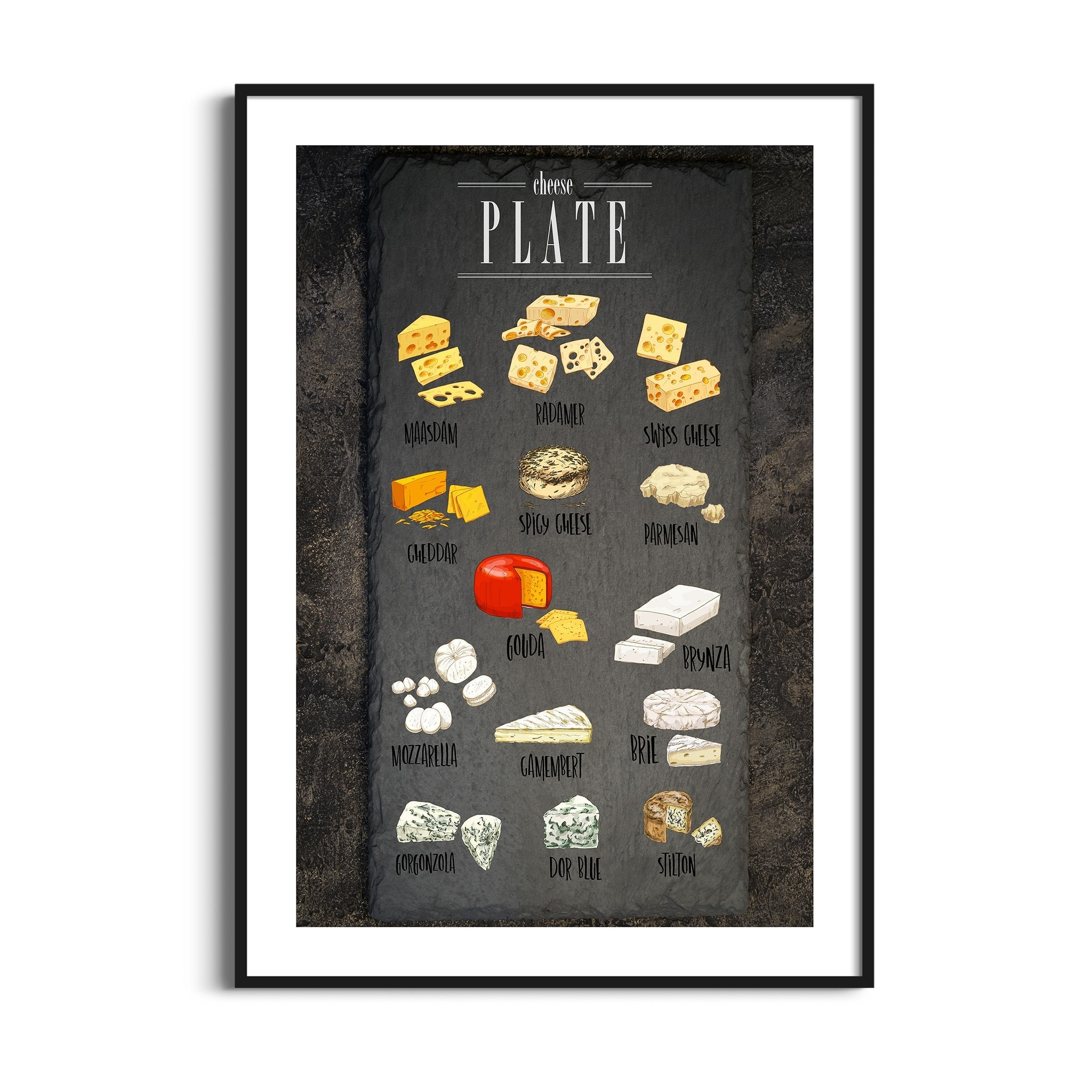 Cheese Plate Poster in black frame with border
