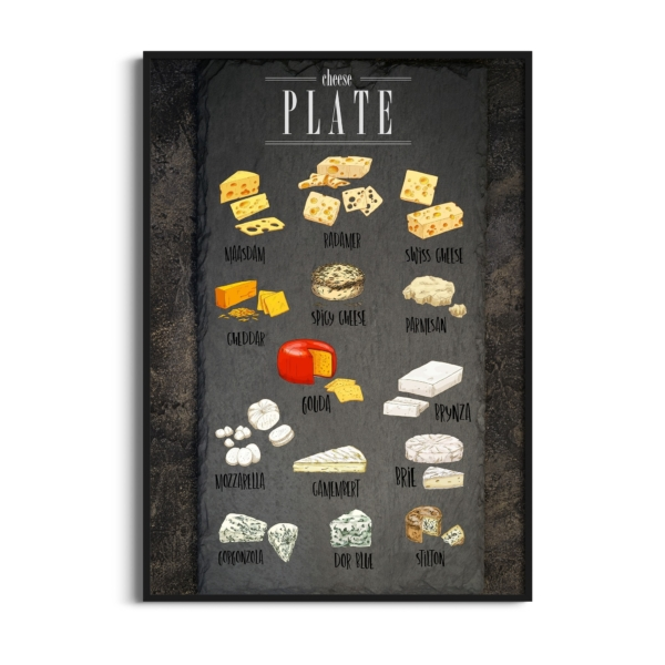 Cheese Plate Poster in black frame without border
