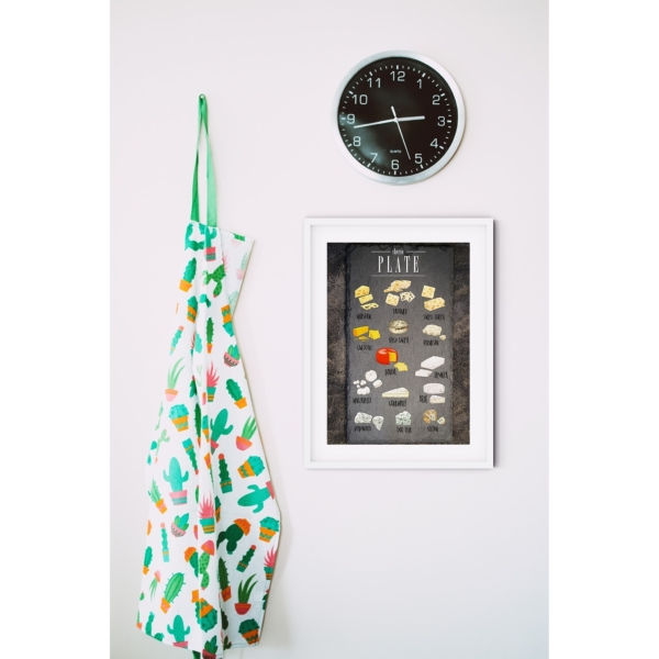 Cheese Plate Poster in white Frame with border on the wall