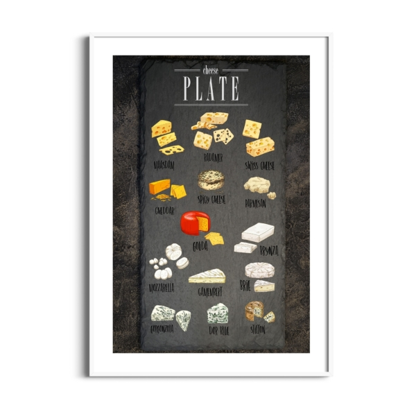 Cheese Plate Poster in white frame with border