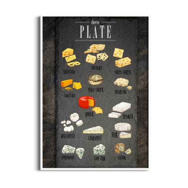 Cheese Plate Poster in white frame without border
