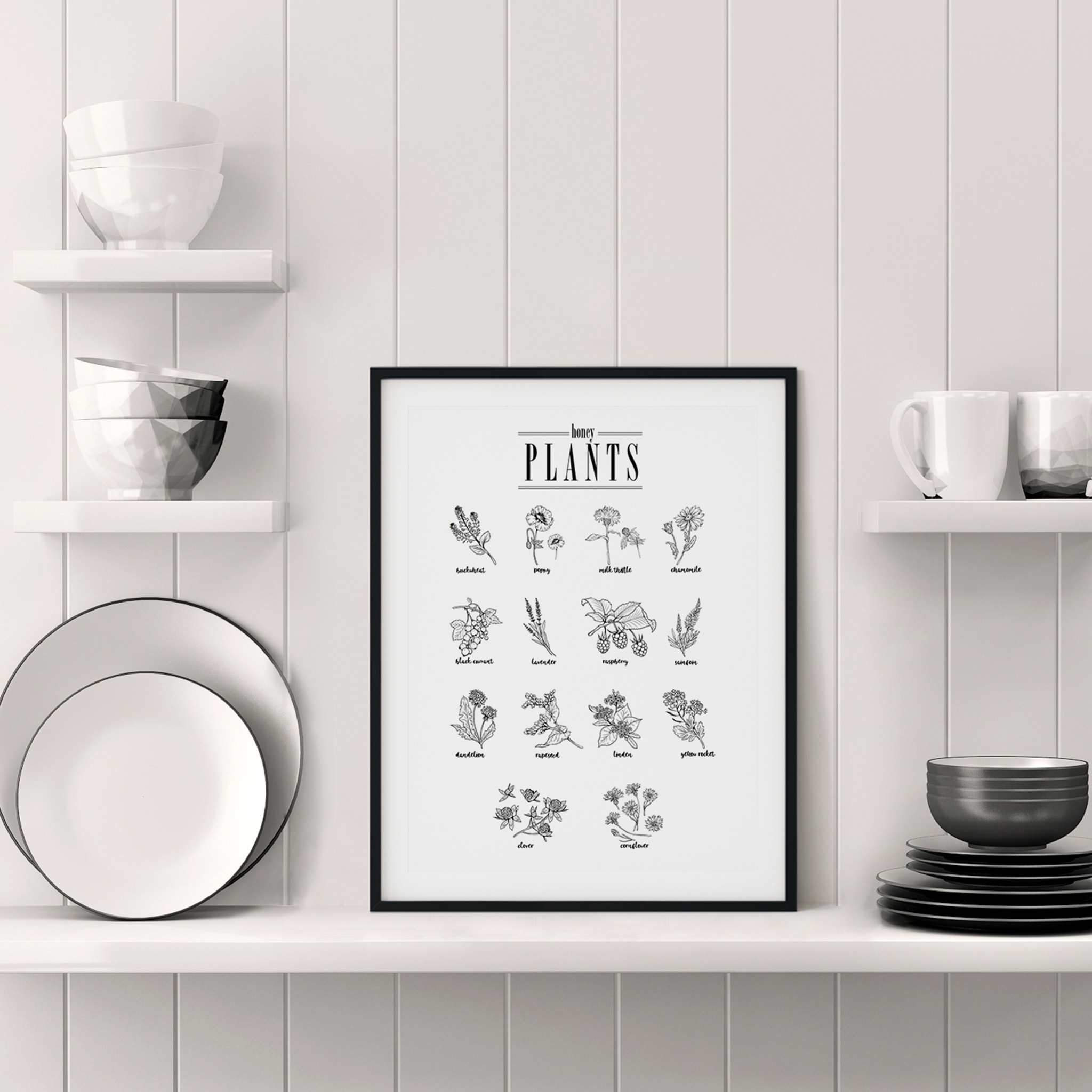 Honey Plants poster in black frame on the shelf in the kitchen