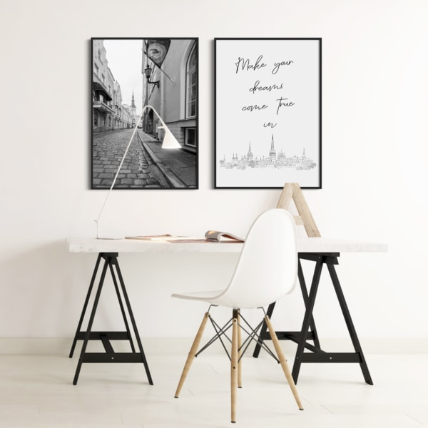 Make your dreams come true in Tallinn Poster in black frame on the wall