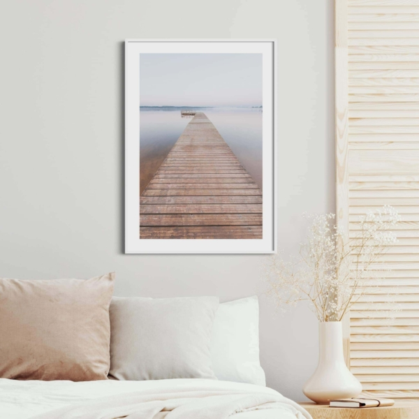 Morning on Tamula Lake Print in white frame on the wall