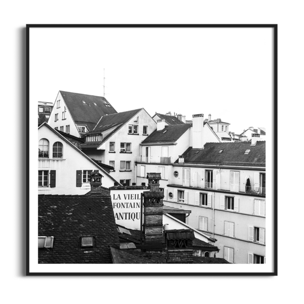 Lausanne Roofs print in the Black Frame with border