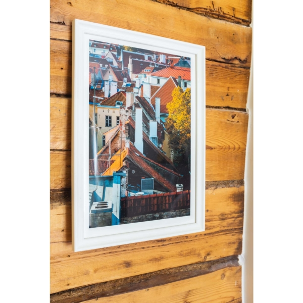 Old Town Roofs Fine Art Print White Frame On The Wall 2