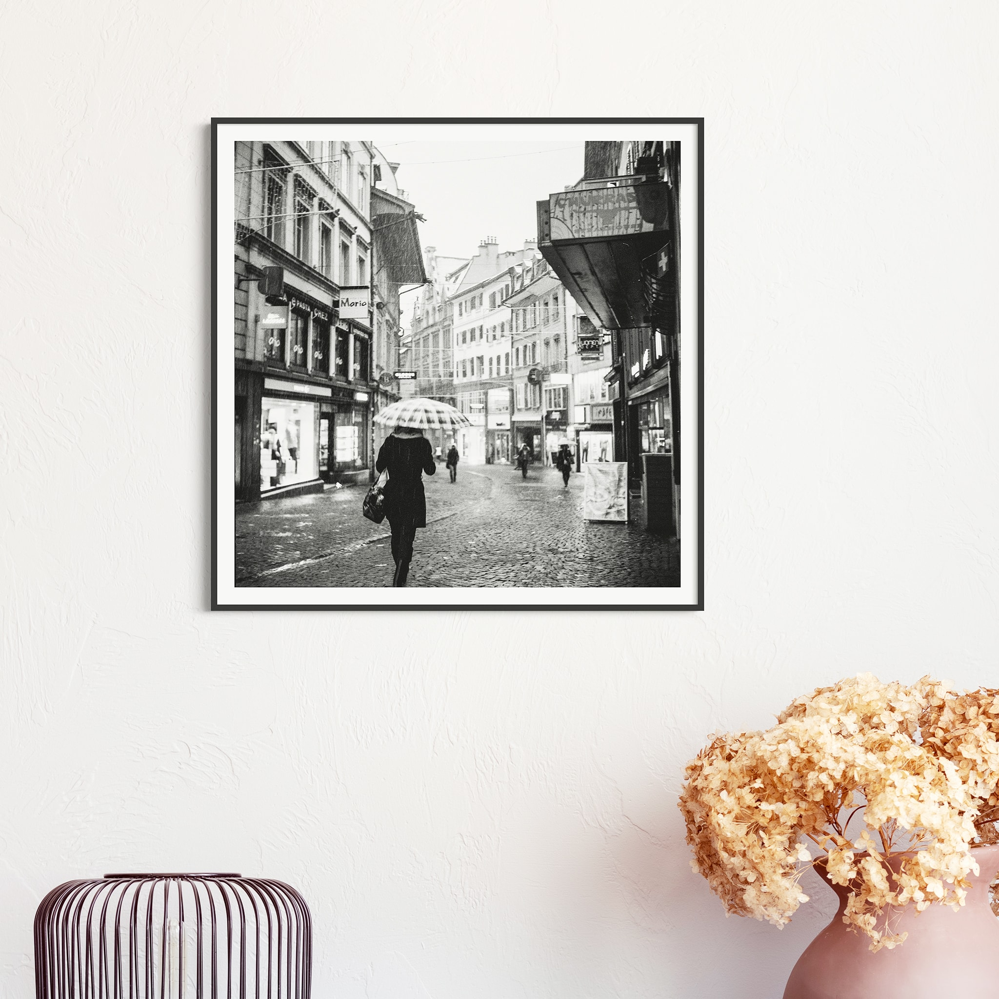 Rainy Mood In Lausanne print in black frame with border on the wall