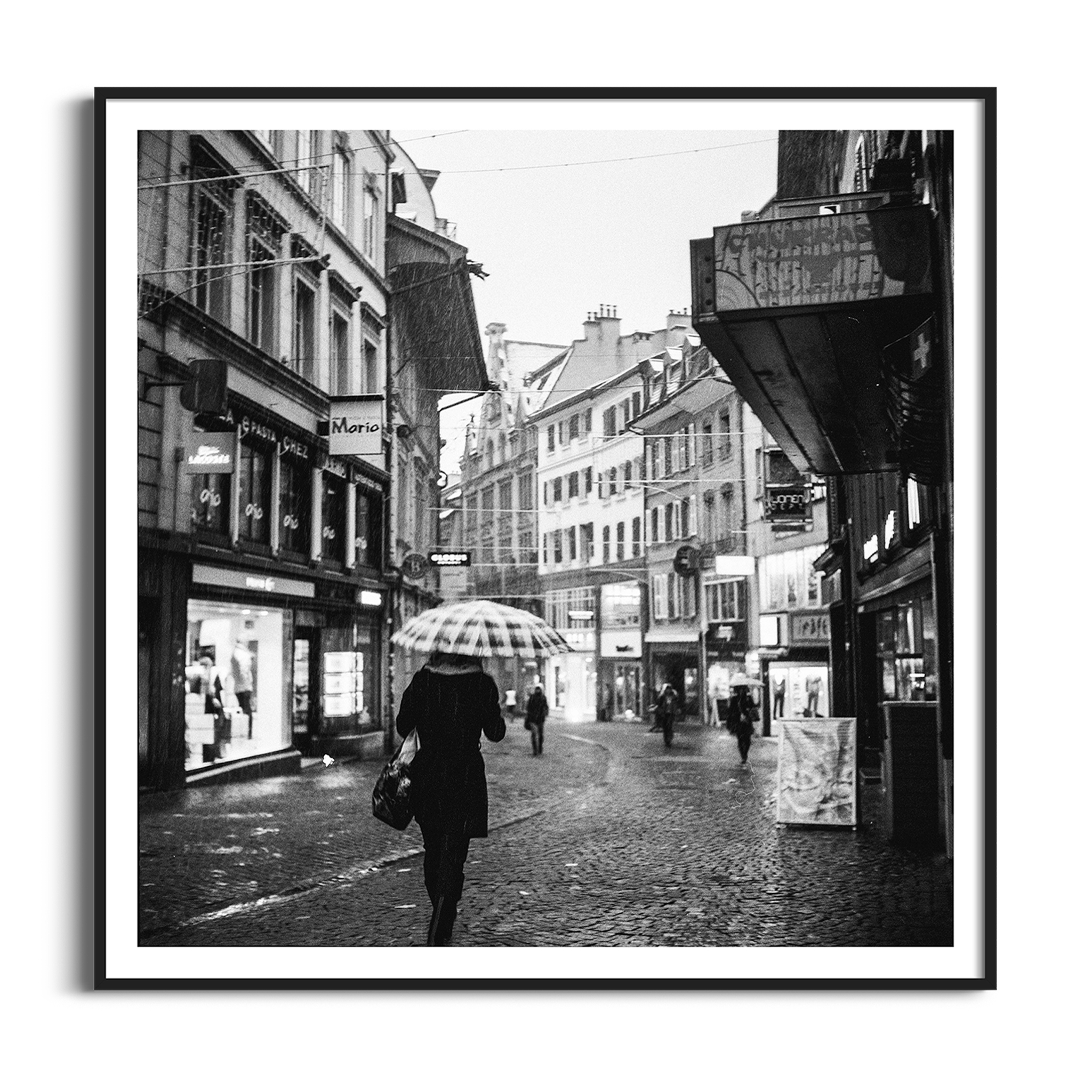 Rainy Mood In Lausanne print in black frame with border