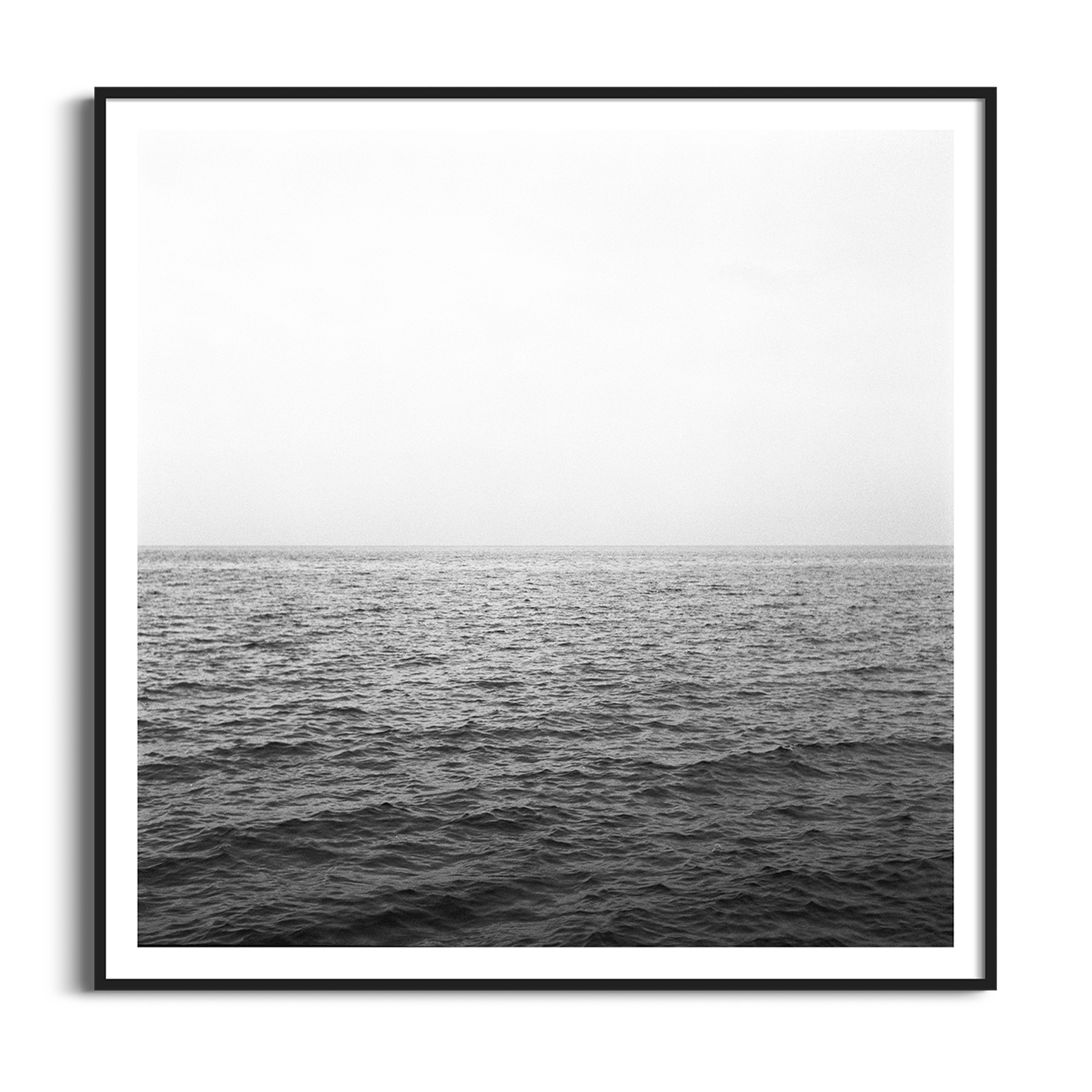 Fog on the Lake Leman black and white print in black frame with border