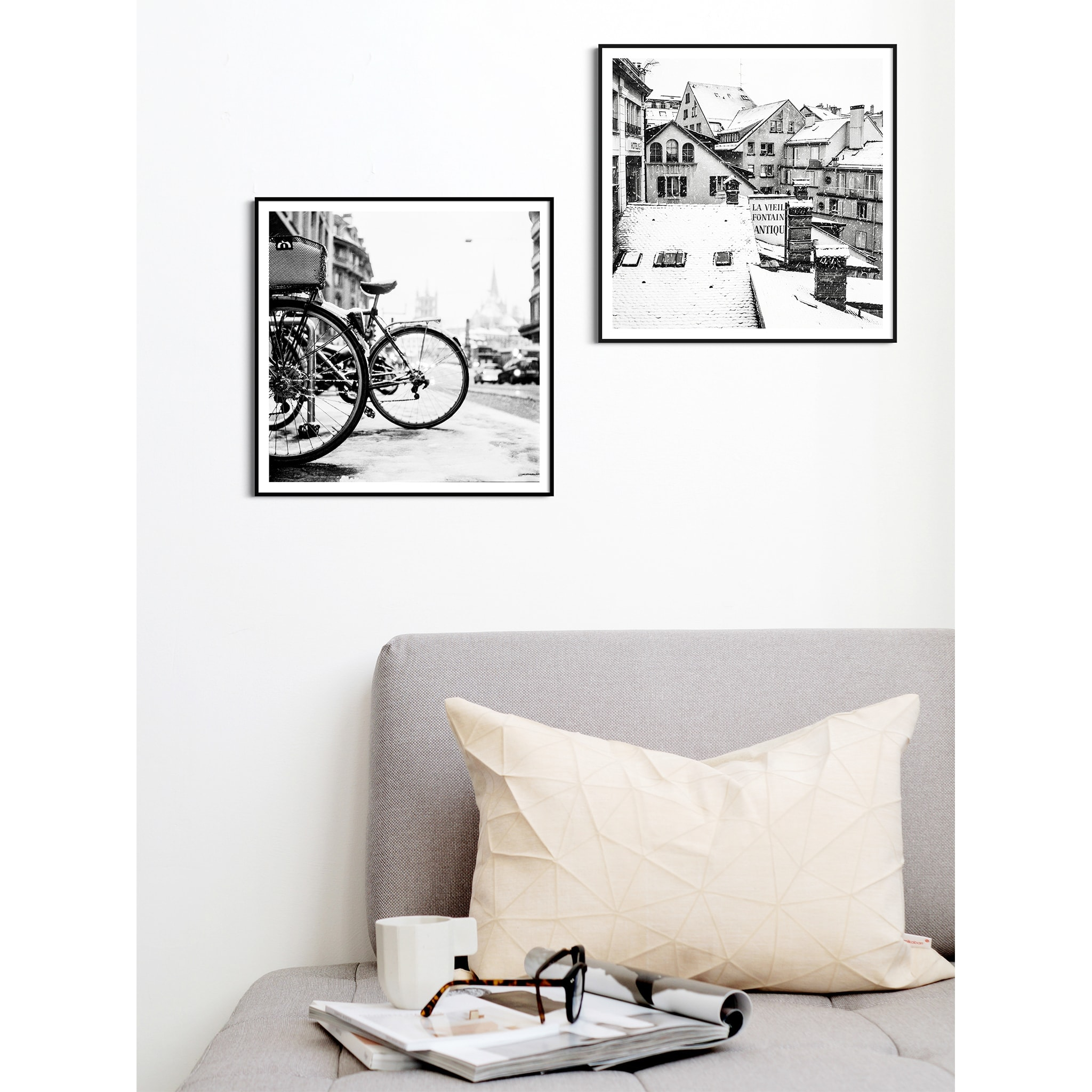 lausanne bicycles in snow and snowy day black frame with border