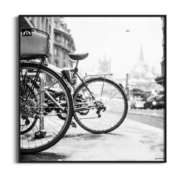 lausanne bicycles in snow black frame no border