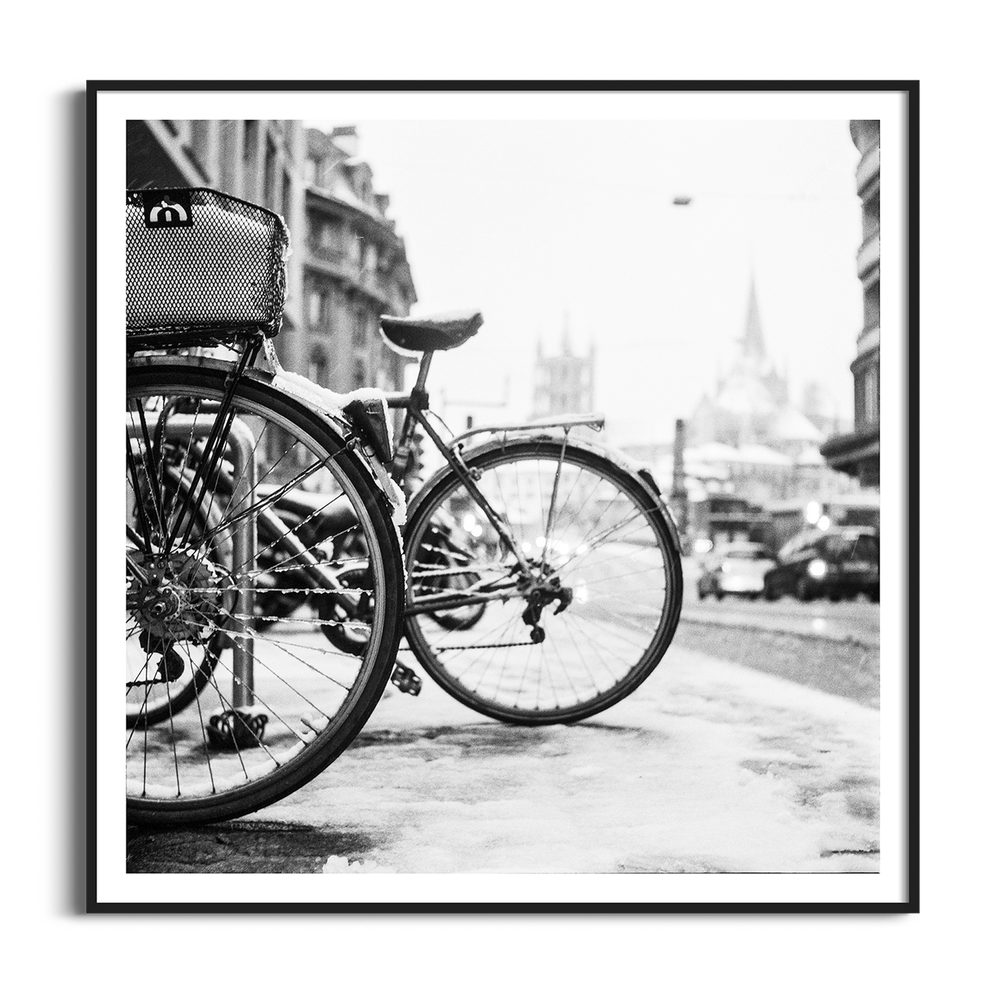 lausanne bicycles in snow black frame with border