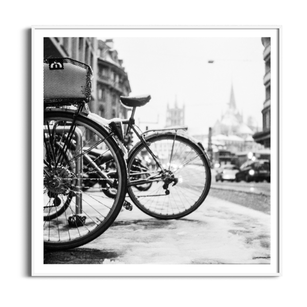 lausanne bicycles in snow white frame with border
