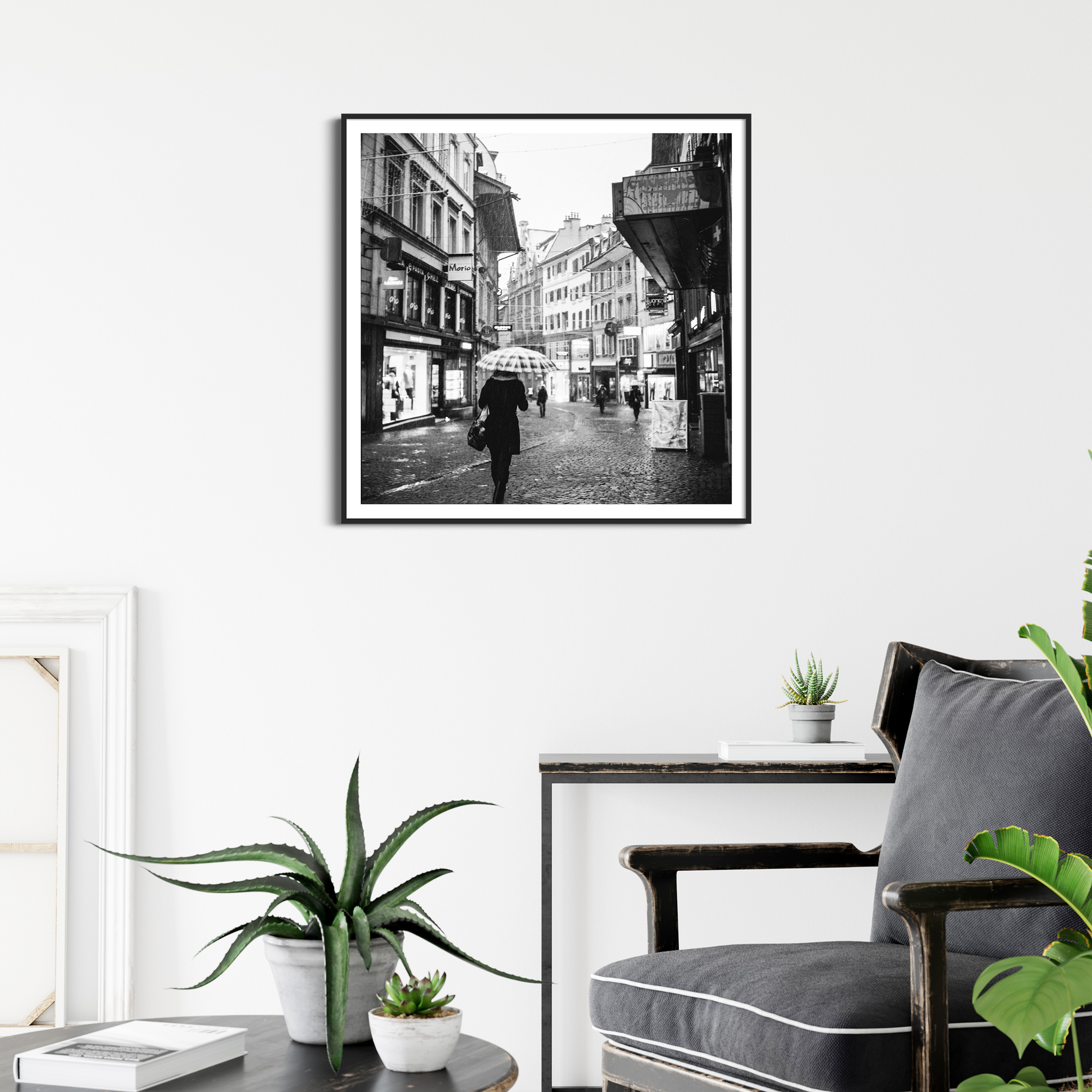 Rainy Mood In Lausanne - black and white print in black frame with border on the wall