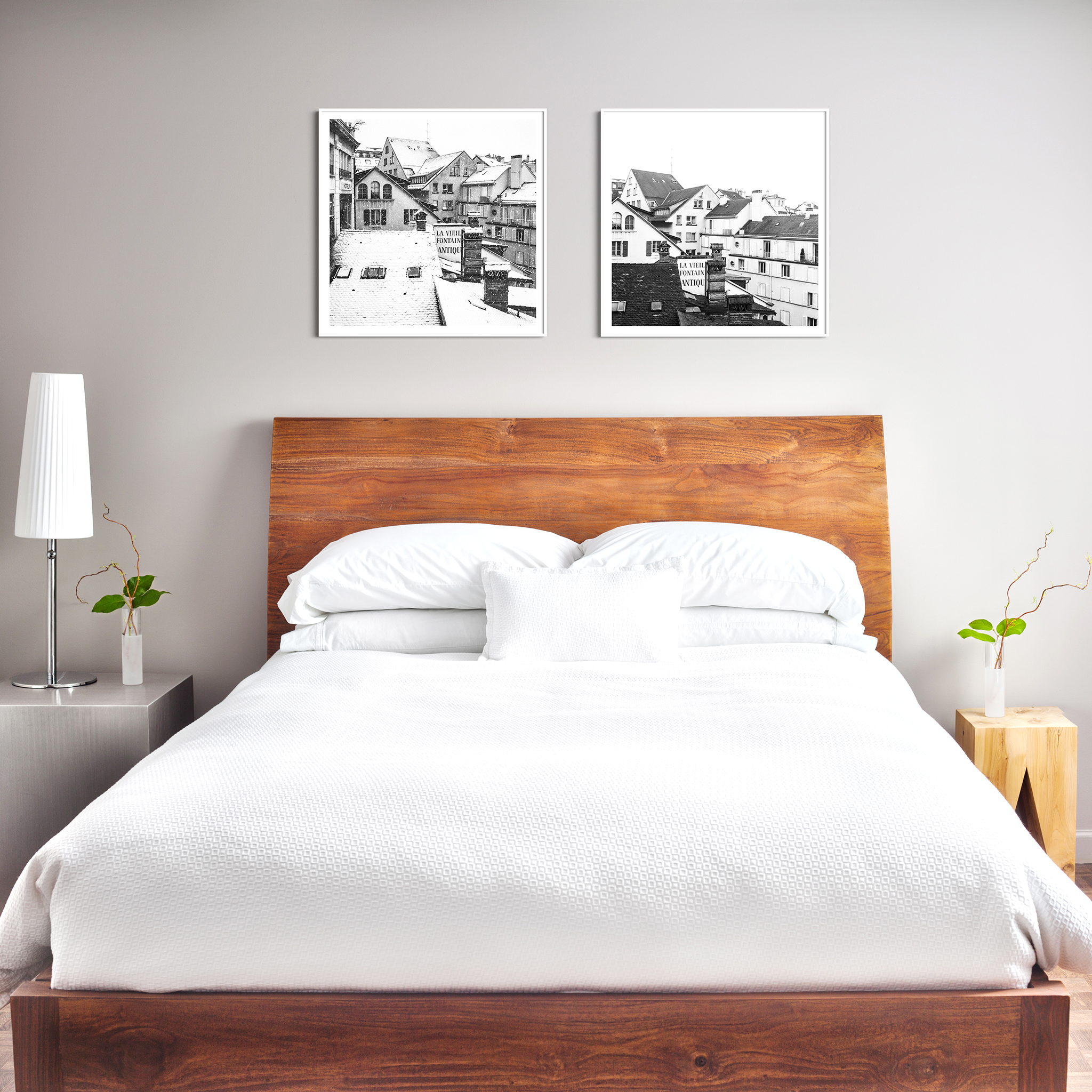 Snowy Day in Lausanne black and white print in white frame with border on the wall in the bedroom