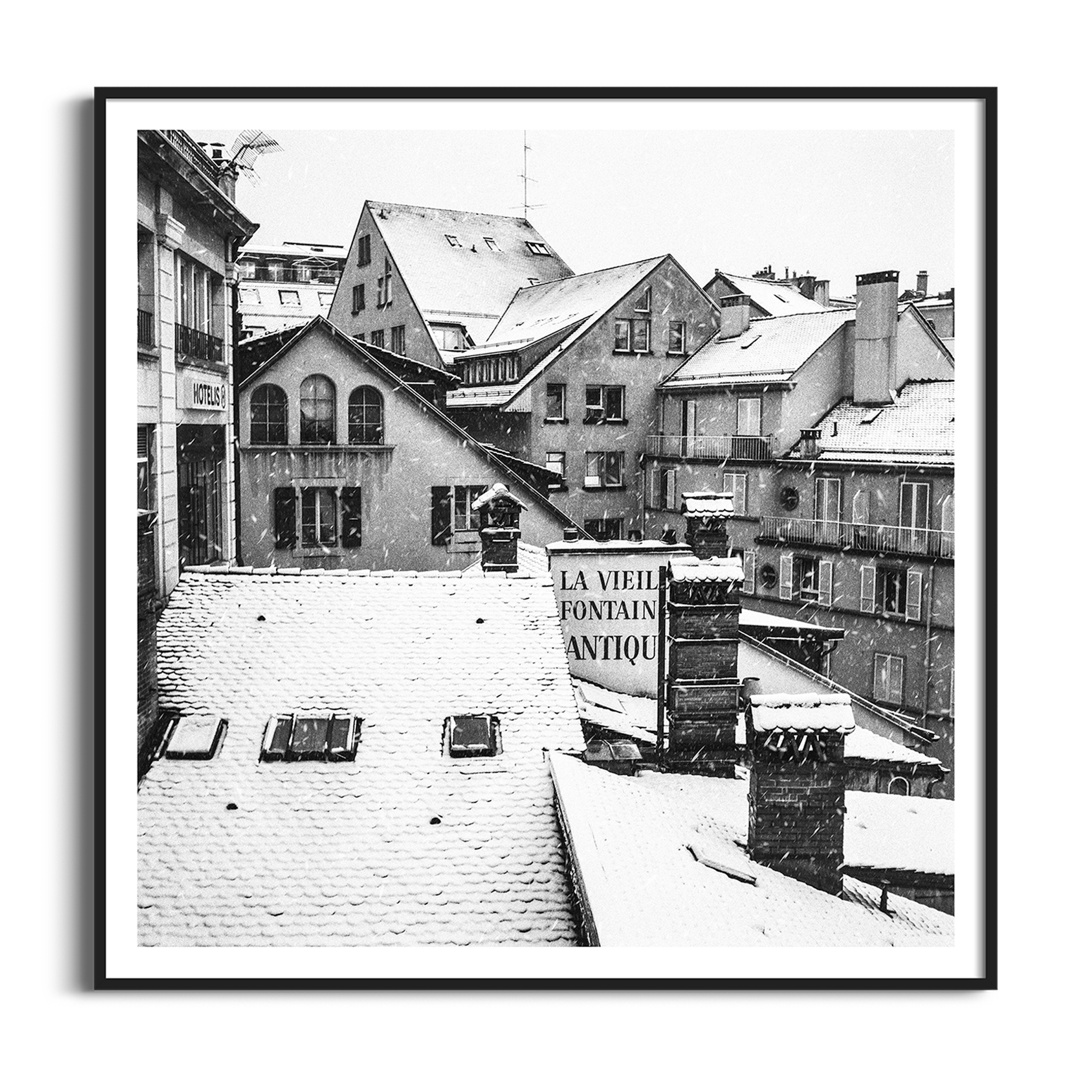 Snowy Day in Lausanne black and white print in black frame with border