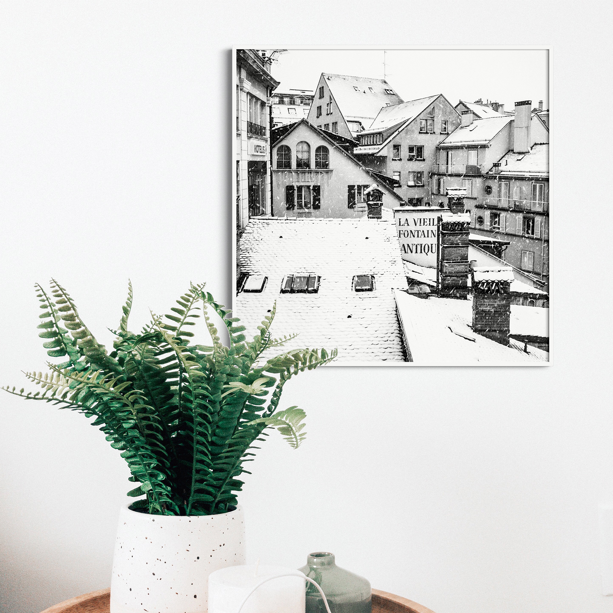 Snowy Day in Lausanne black and white print in white frame without border on the wall with flower
