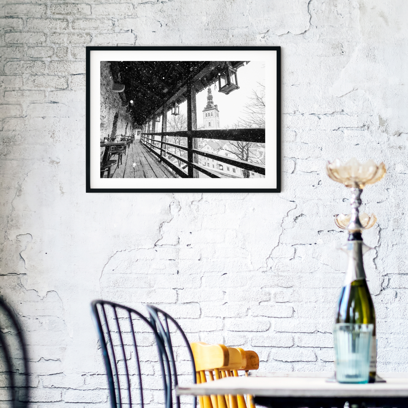 Winter in Tallinn - black and white photography print with border in cafe interior