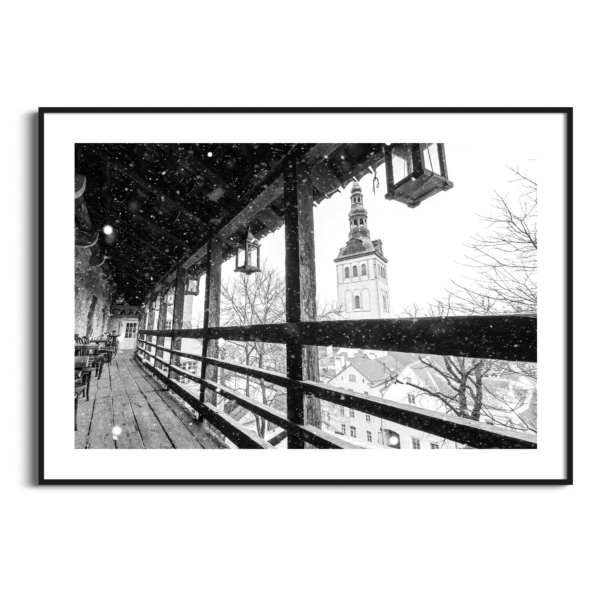 Winter in Tallinn - black and white photography print in black frame with border