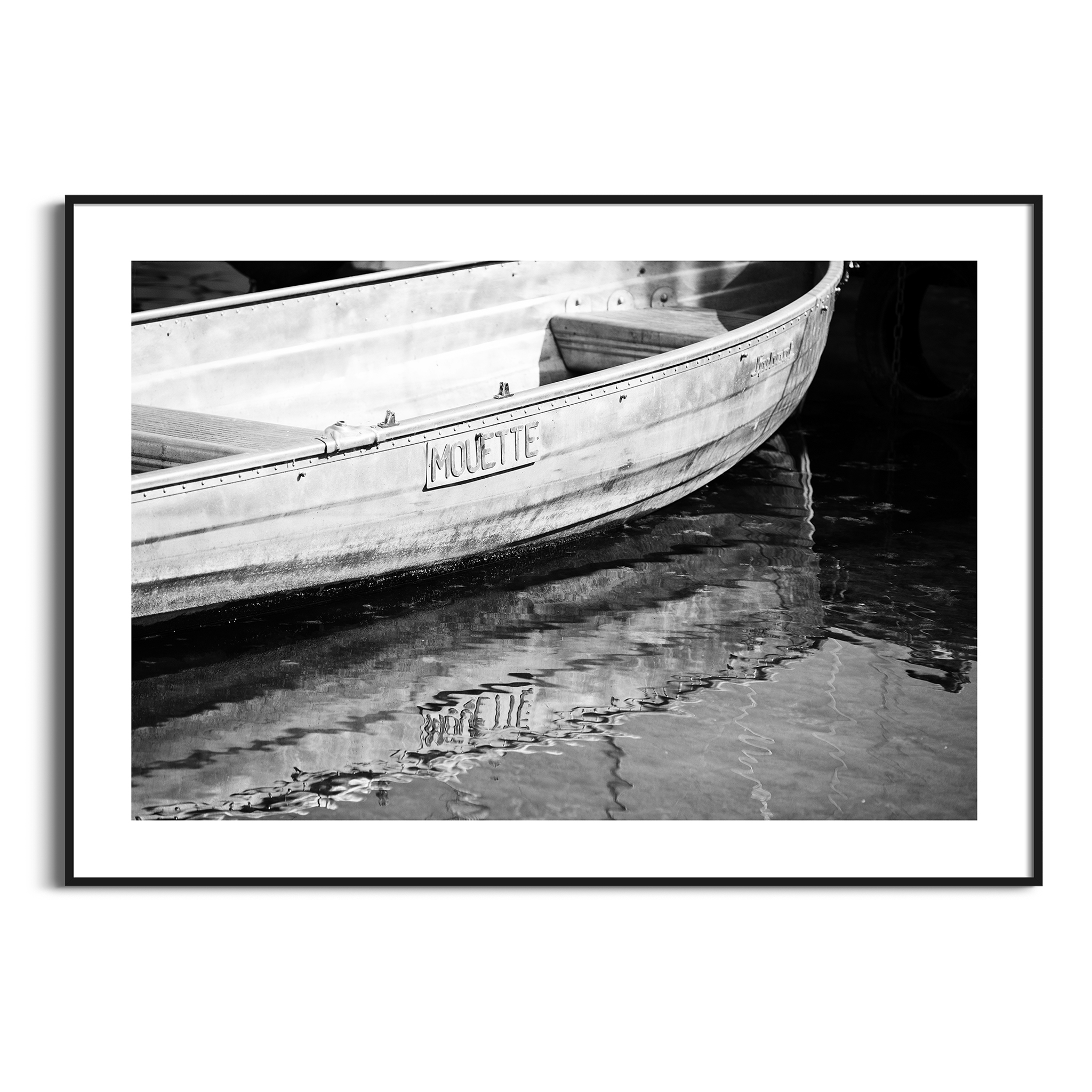 Boat in Geneva - black and white print with border in black frame