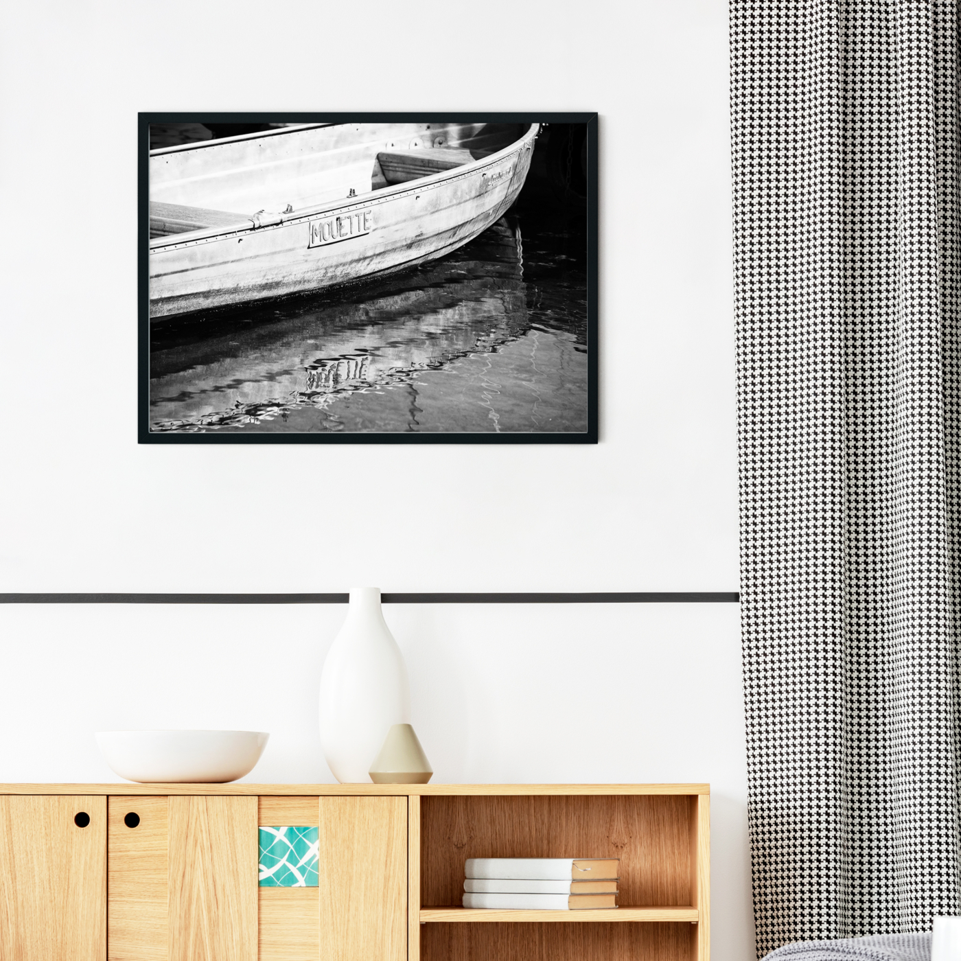 Boat in Geneva - black and white print without border in black frame on the wall