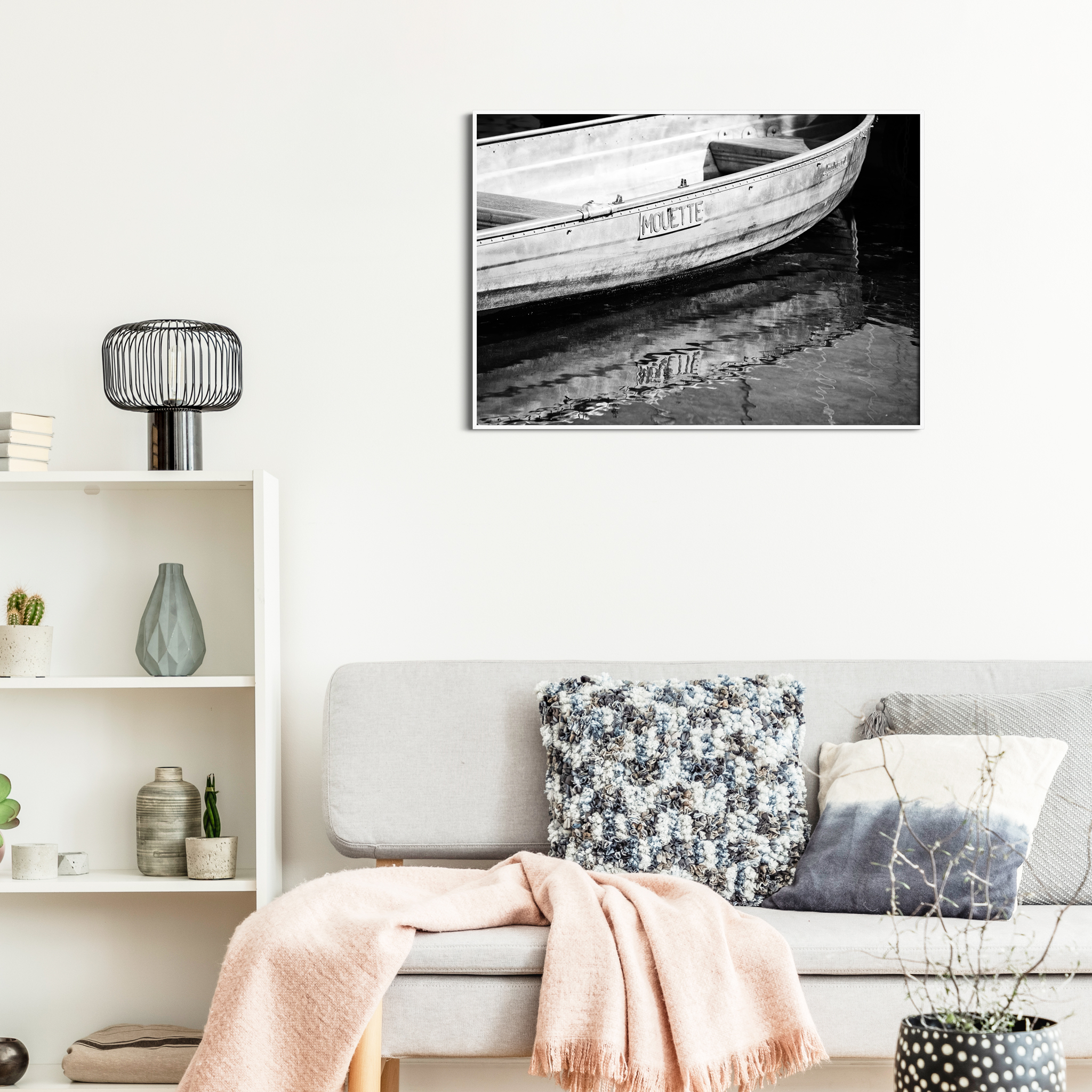 Boat in Geneva - black and white print without border in a white frame on the wall