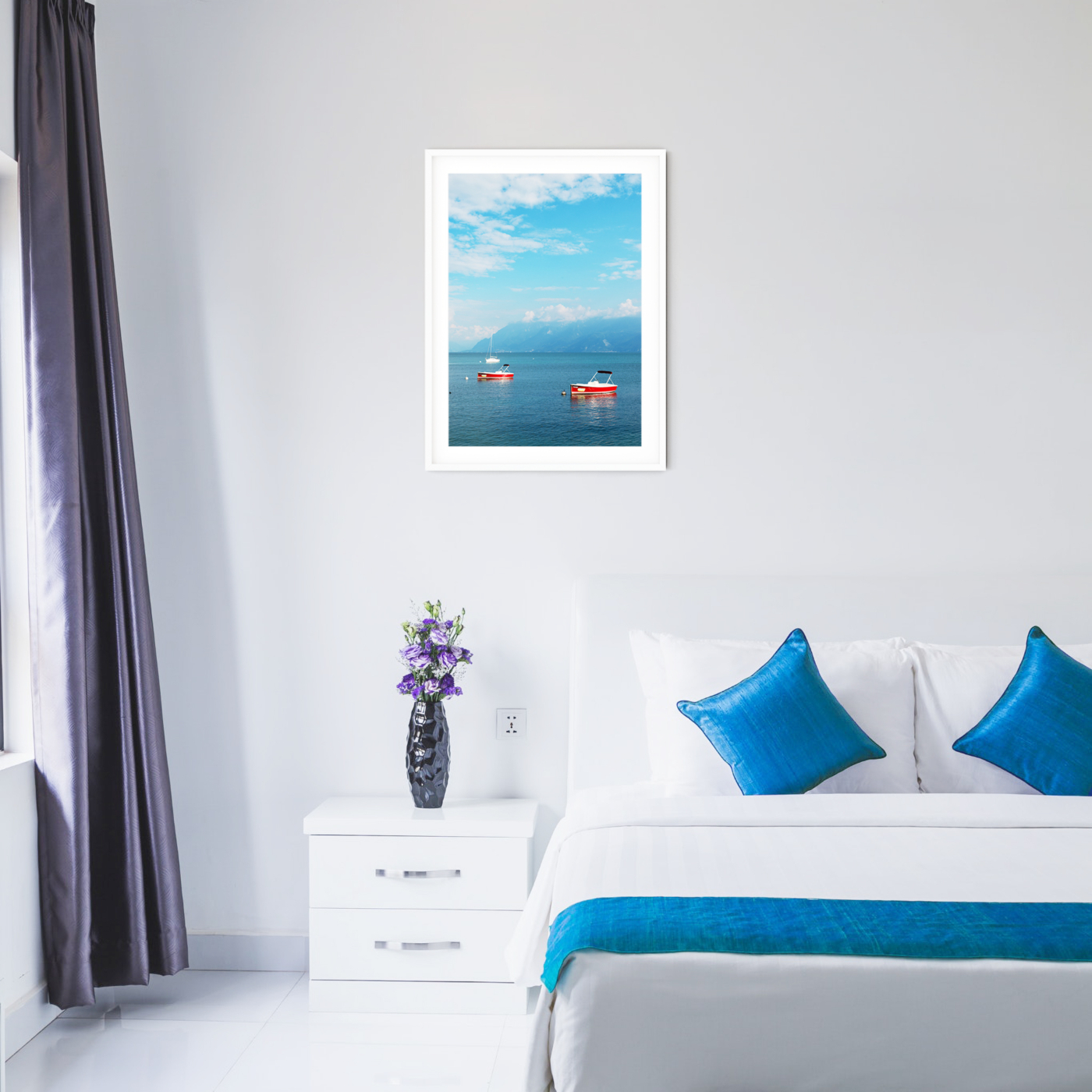 Boats on the Lake Leman - color print with border in white frame in the bedroom