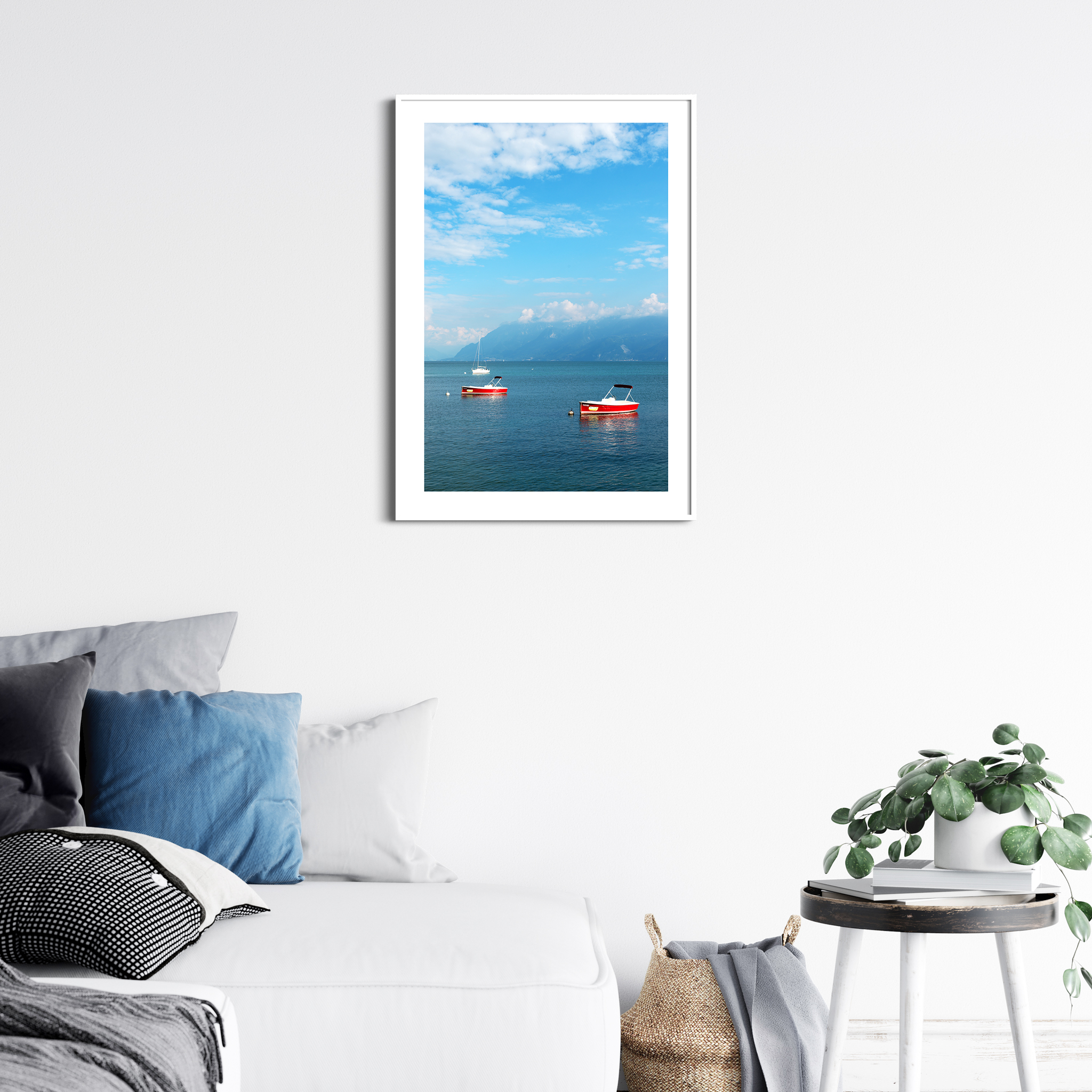 Boats on the Lake Leman - color print with border in white frame - interior photography