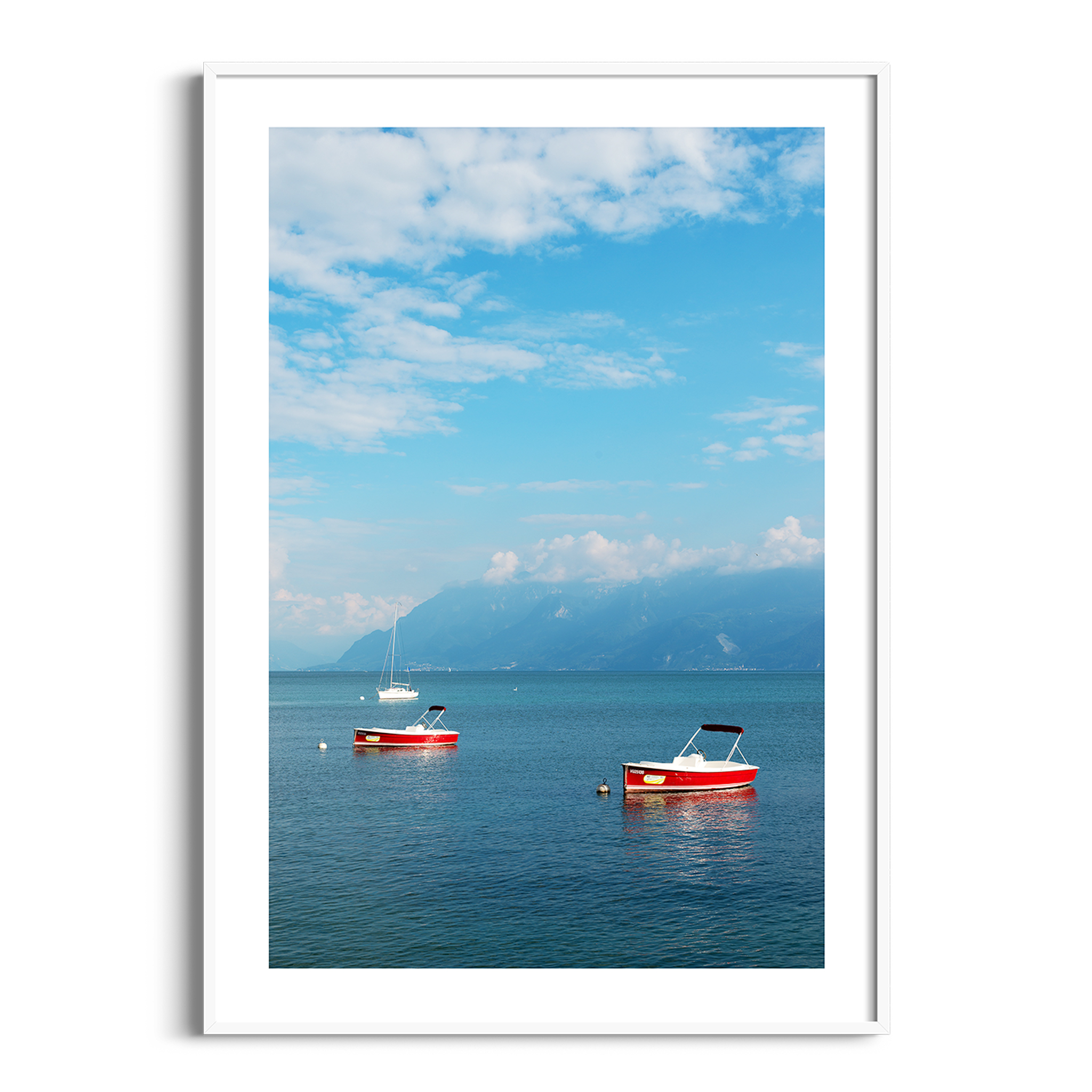 Boats on the Lake Leman - color print with border in white frame