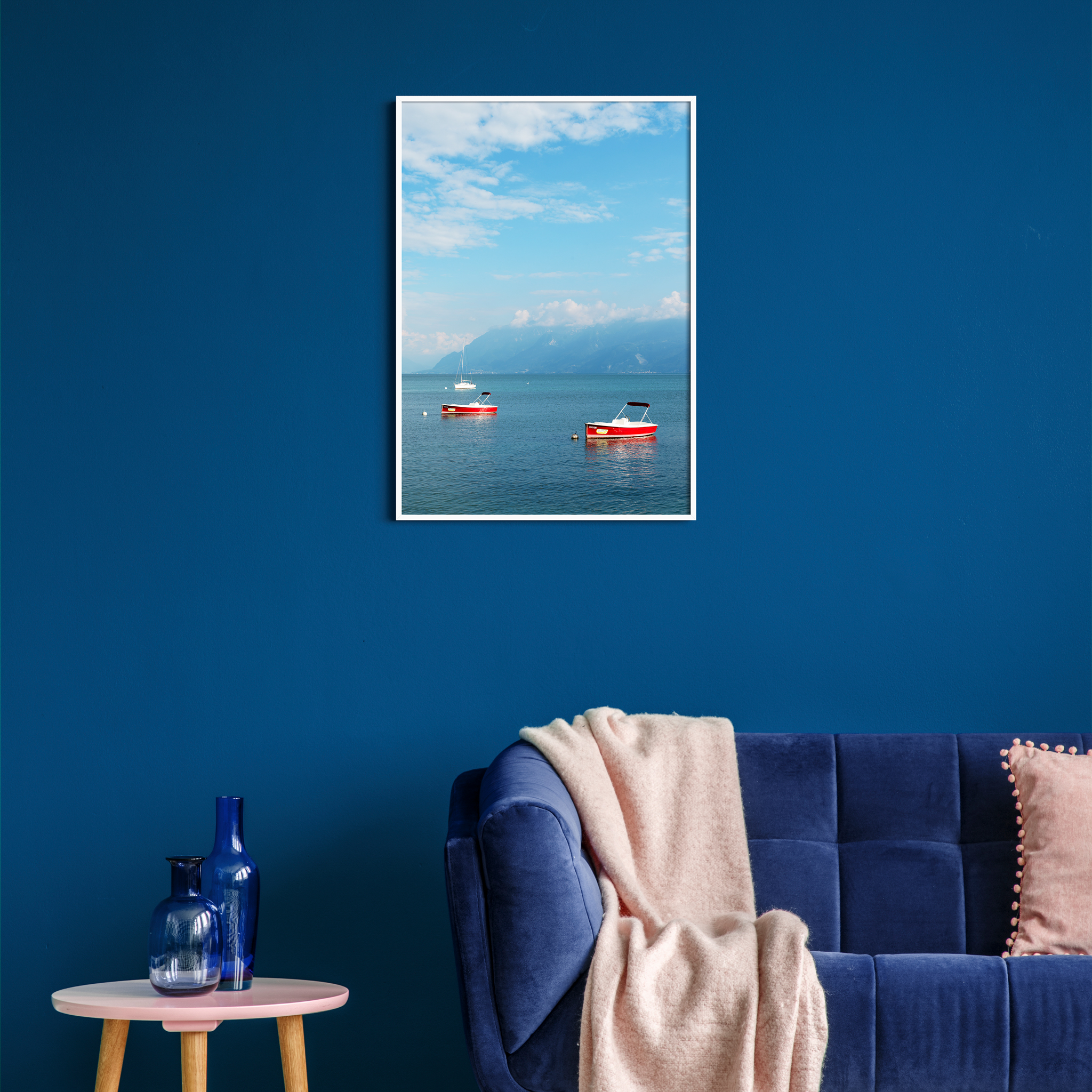 Boats on the Lake Leman - color print without border in white frame on the blue colored wall