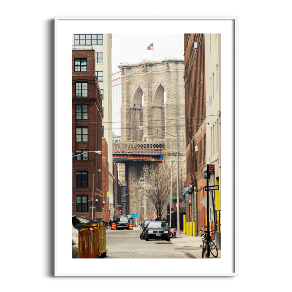 Brooklyn Bridge: View From Brooklyn photography - print with border in white frame
