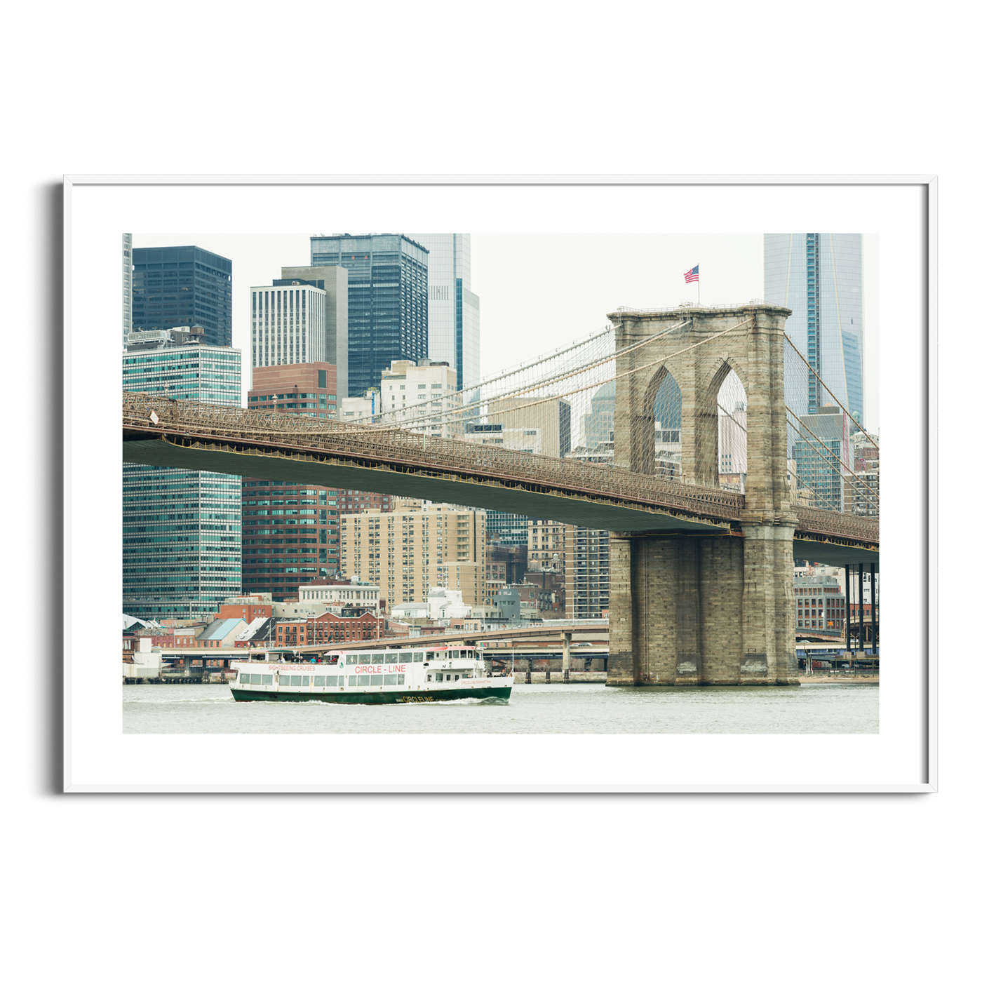Brooklyn Bridge and East River photography - print with white border in the white frame