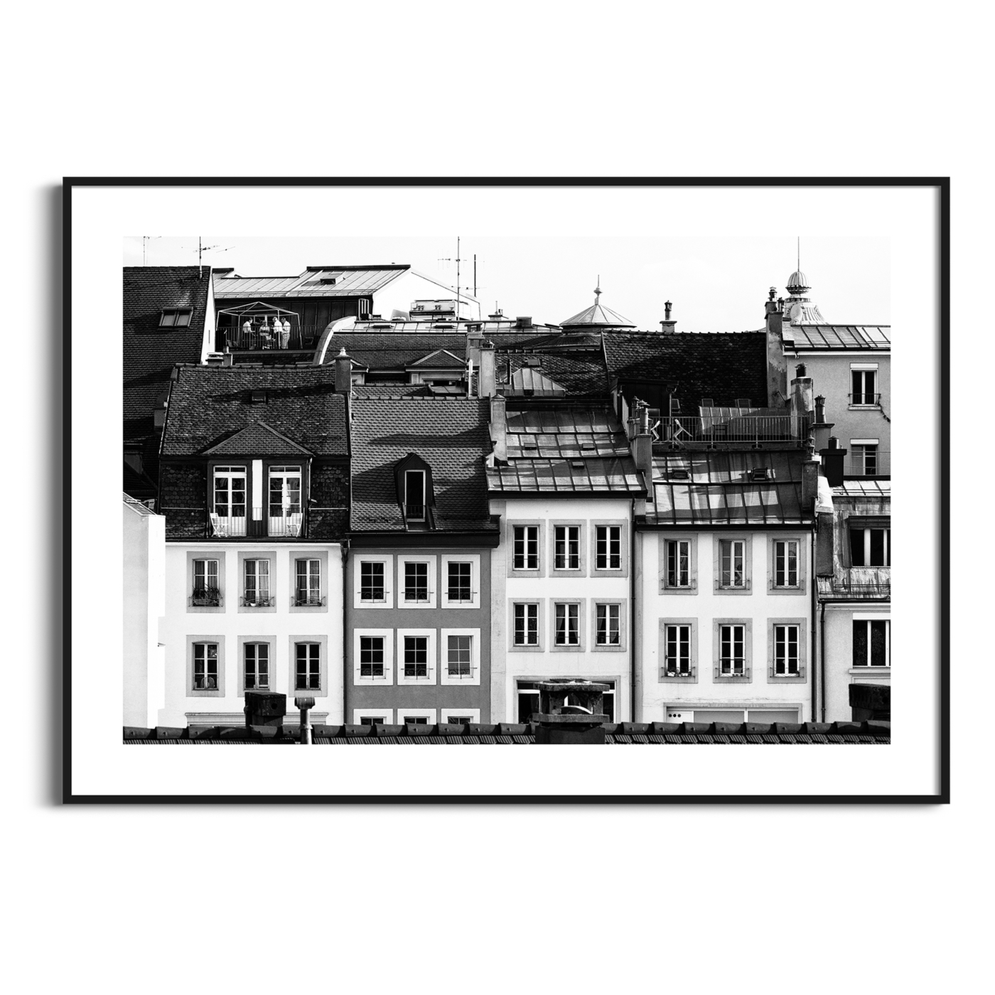 Lausanne Roofs II - black and white print with border in black frame
