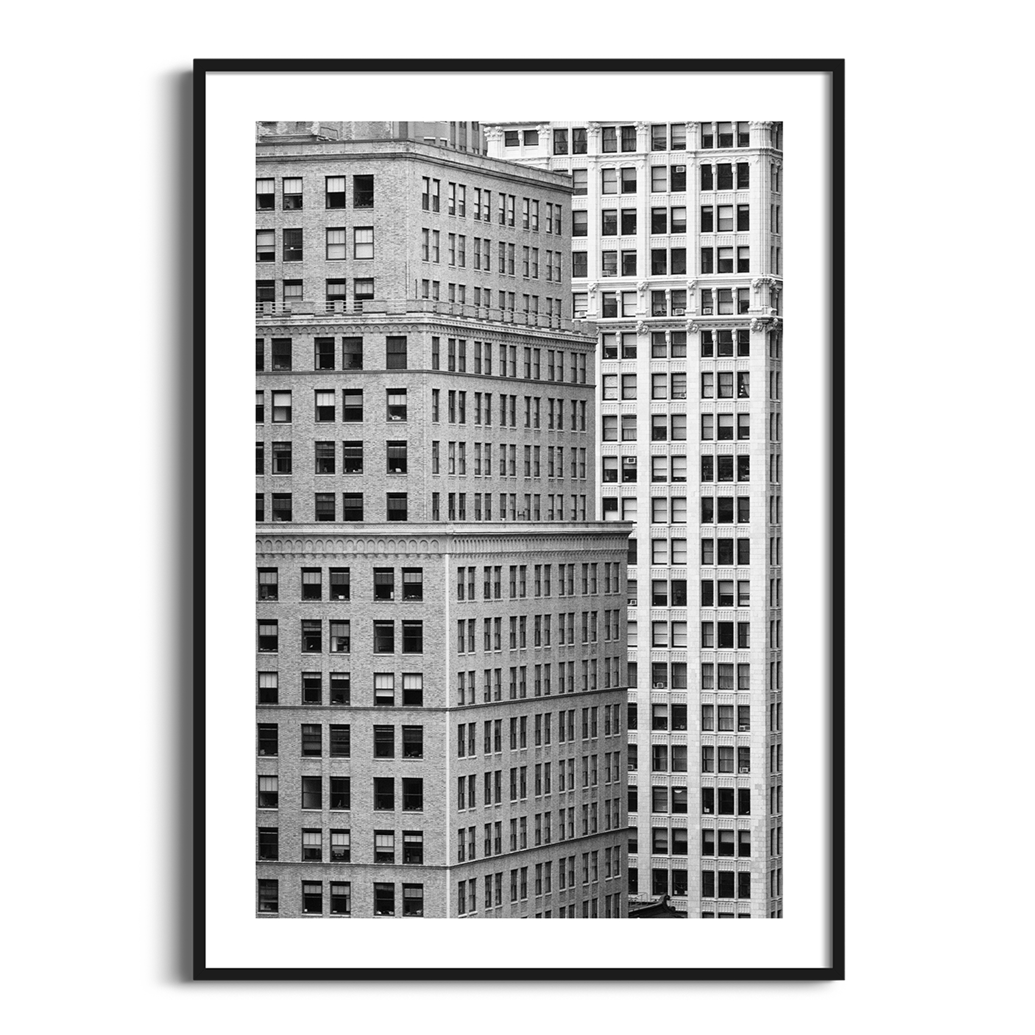Manhattan Architecture Shot Number 7 black and white print in black frame with border