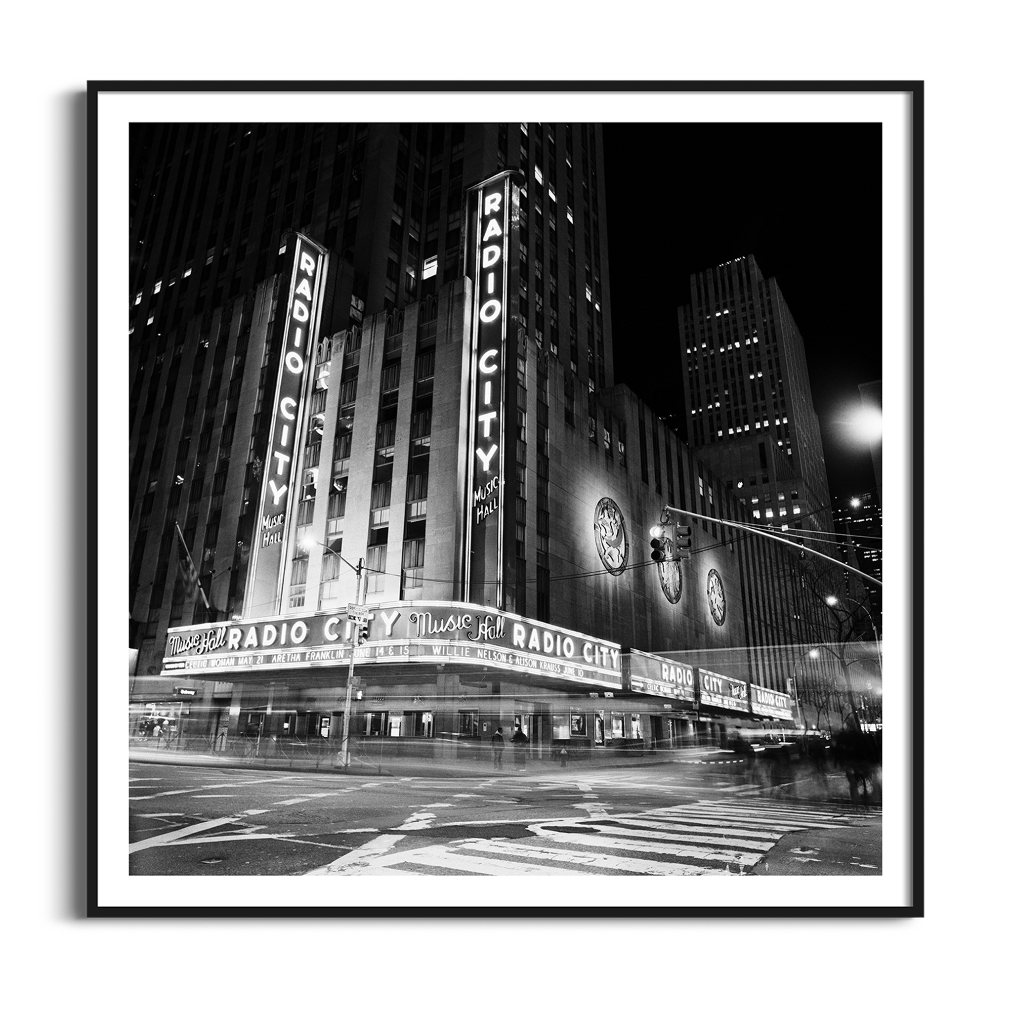 Radio City Music Hall by Night - black and white print with border in black frame