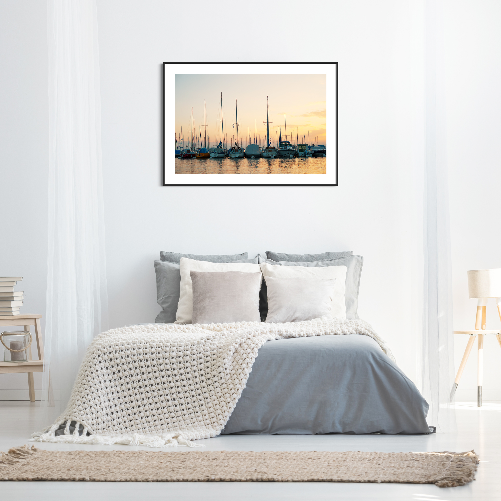 Sunset in Lausanne photography - color print with border in the black frame on the wall in the bedroom