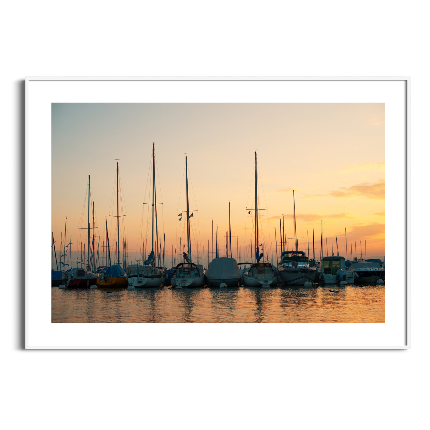 Sunset in Lausanne photography - color print with border in the white frame