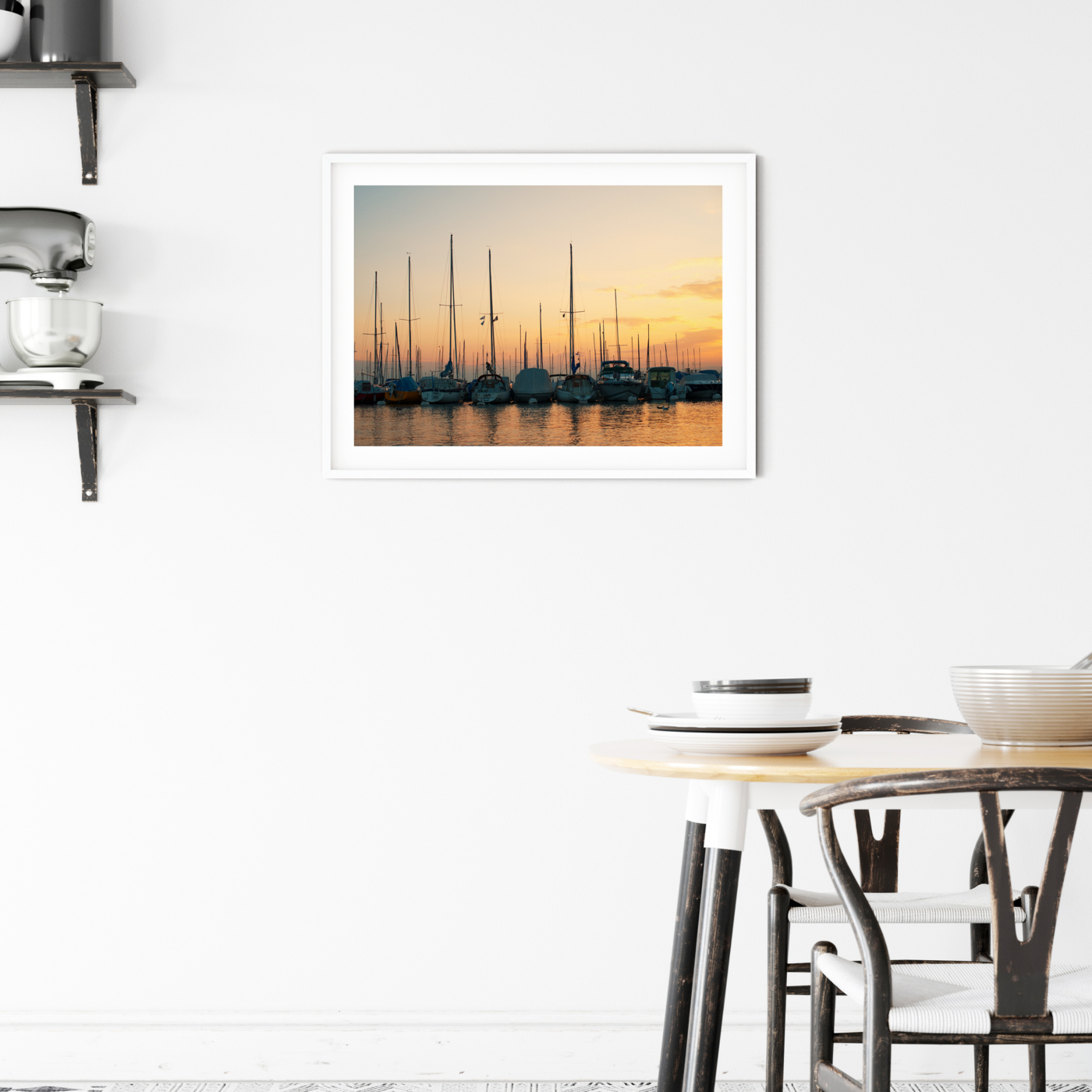 Sunset in Lausanne photography - color print with border in the white frame on the wall