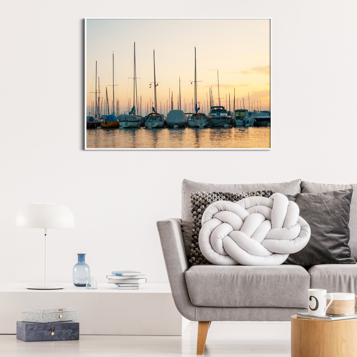 Sunset in Lausanne photography - color print without border in the white frame on the wall
