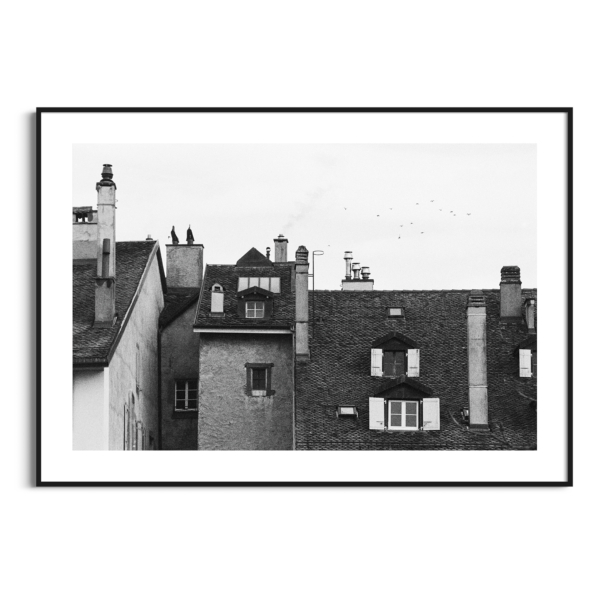 Roofs Of Nyon photography - Black and white print with border in black frame